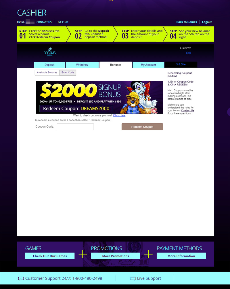 Dream Casino No Deposit Bonus Code And Welcome Bonuses Aug 2020