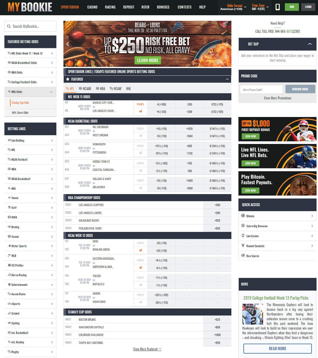 MyBookie ag Promo Codes for $1500 in Sports Bonuses Dec 2019