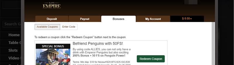 Empire city slots bonus code
